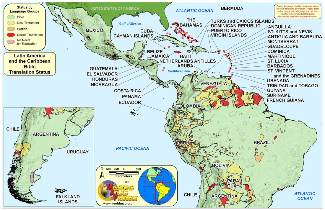 Latin america the carribean worldmap bible translation gumiabroncs Images